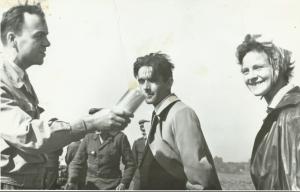 Nauczyciele (od lewej): E. Wójcik, A. Zapisek, H. Minksztym na konkursie orki, 1964 r.
