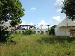 Ruiny  paszarni przy nieistniejącej już starej oborze i ruiny nowej obory, 2013 r.